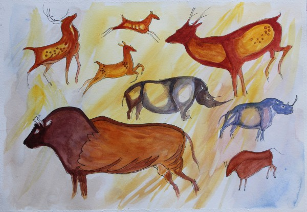 Cave Painting Watercolour