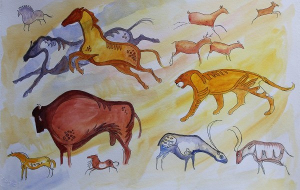 Part Cave Painting  Watercolour